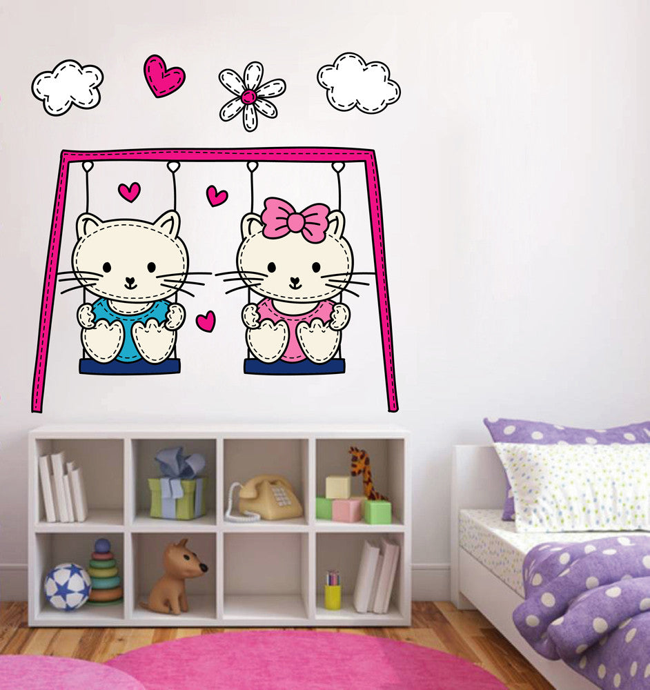 cik125 Full Color Wall decal Kittens swing cloud living children's bedroom