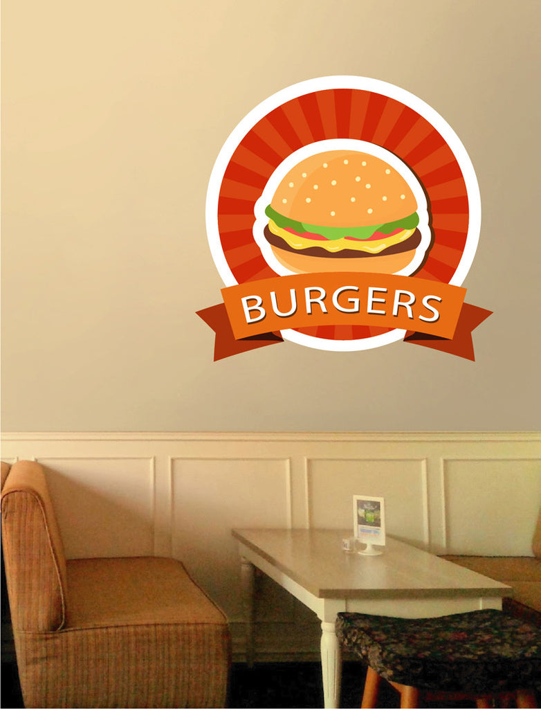 cik1261 Full Color Wall decal fast food burgers diner restaurant quickly