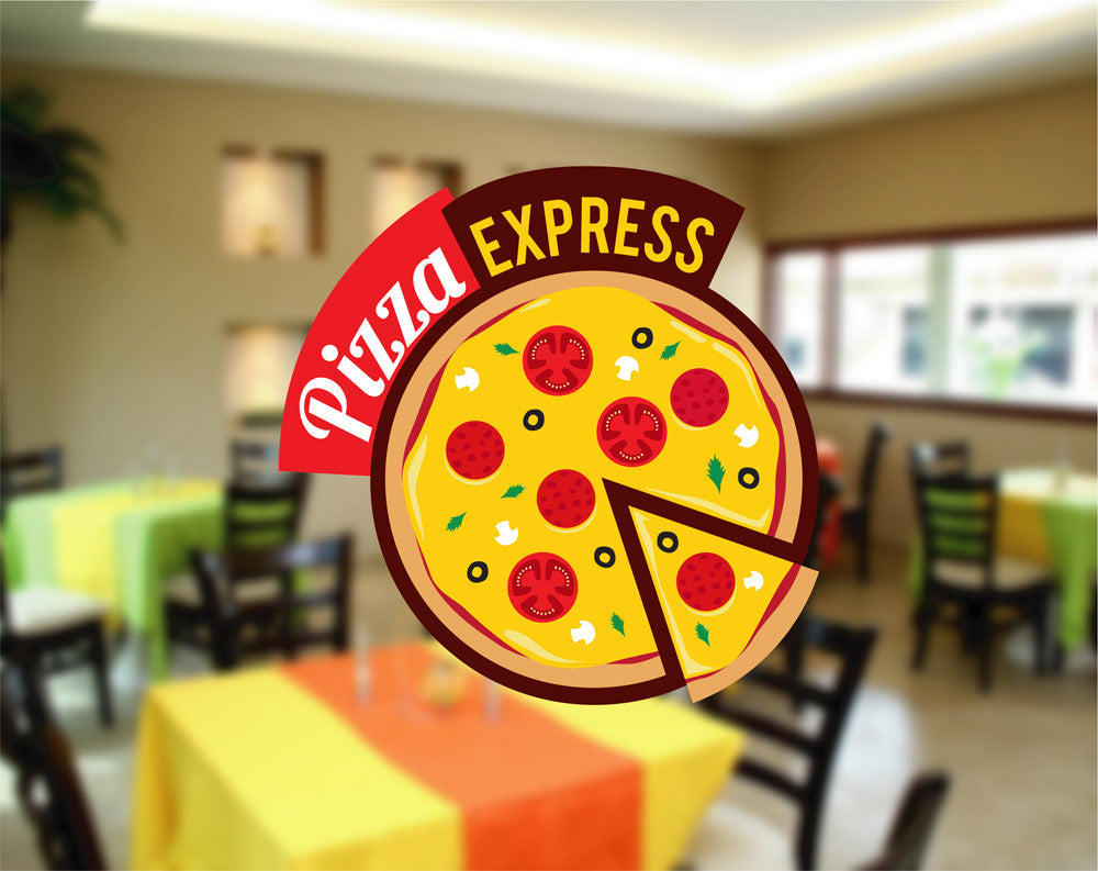 cik1263 Full Color Wall decal Express food pizza restaurant fast snack
