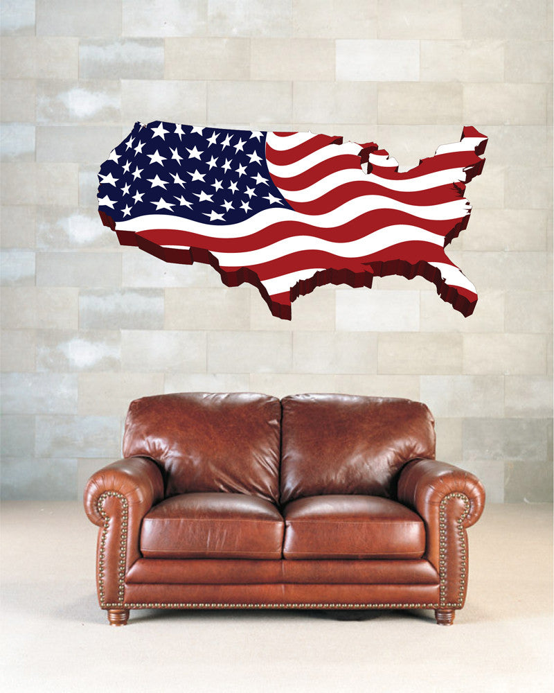 cik1277 Full Color Wall decal Card USA Flag living room bedroom office