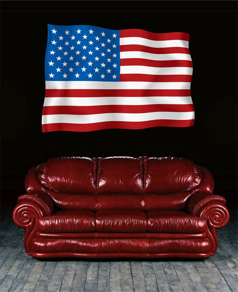 cik1278 Full Color Wall decal US flag bedroom living room