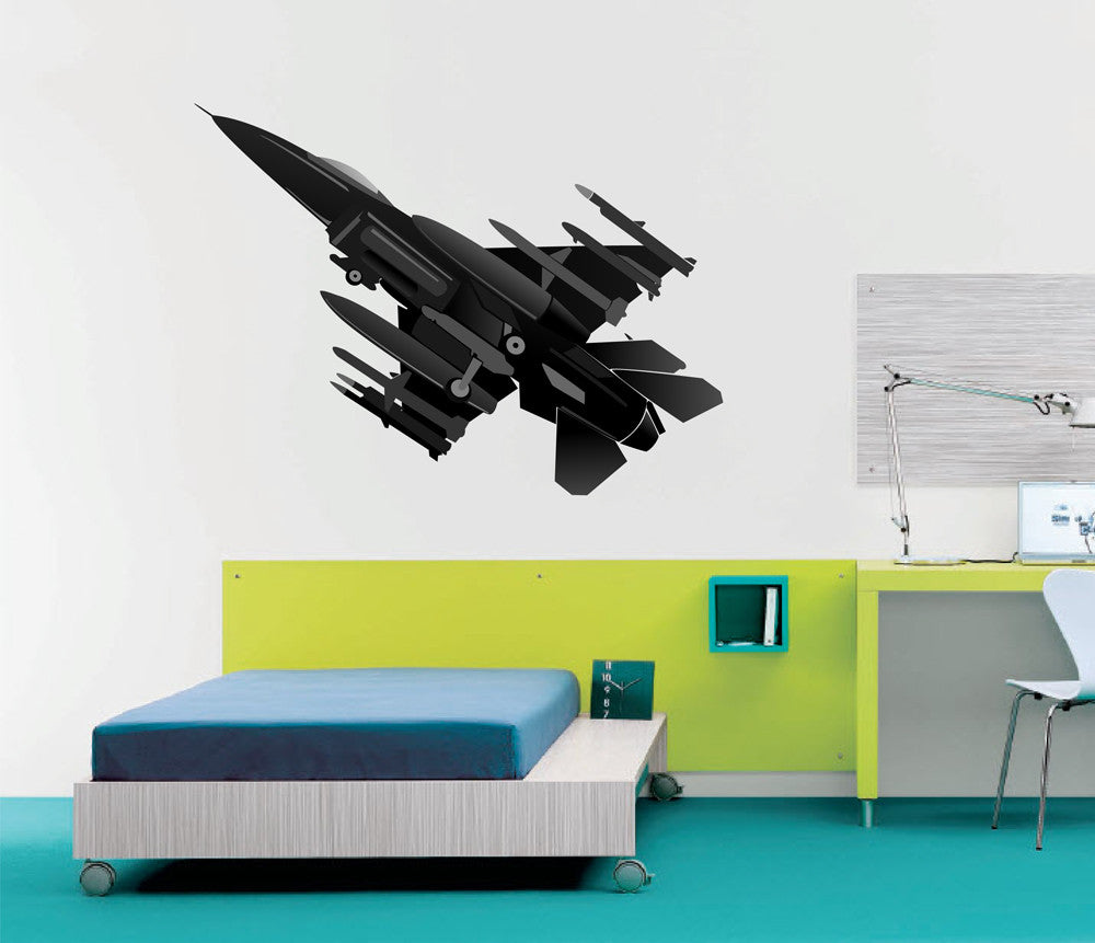 cik1279 Full Color Wall decal military fighter jet lounge children's bedroom
