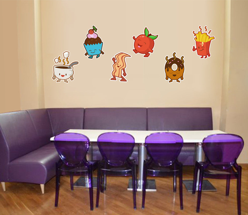 cik1298 Full Color Wall decal Funny children's sweets donut cupcake fries restaurant snack