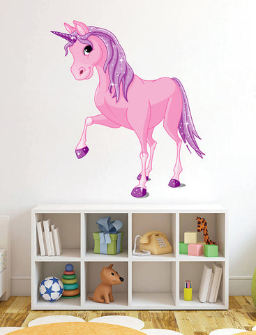 cik12 Full Color Wall decal Pink Unicorn Children's Tales animals children's room