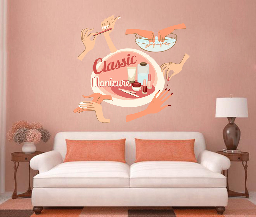 cik1307 Full Color Wall decal classic manicure nail nails hands nail salon