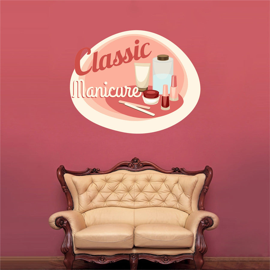 cik1308 Full Color Wall decal classic manicure nails nail salon