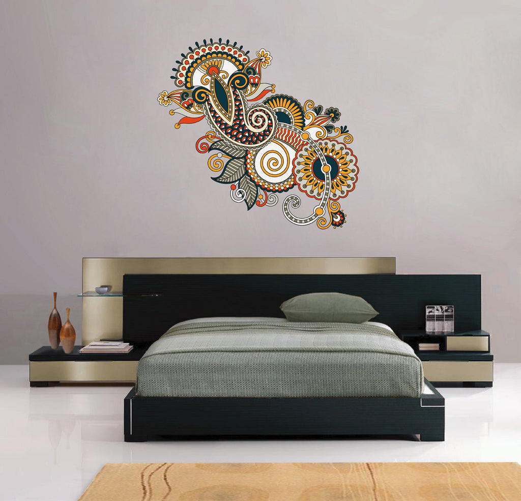 cik130 Full Color Wall decal flower decoration Indian living room bedroom