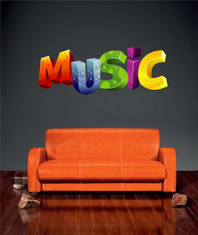 cik1332 Full Color Wall decal 3d music label music shop children