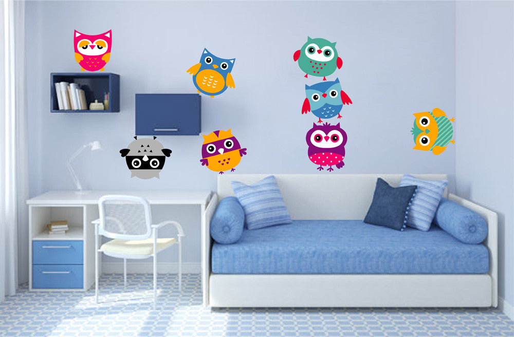 cik1344 Full Color Wall decal bright funny owl bird bedroom children's room