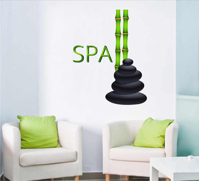 cik1346 Full Color Wall decal stones bamboo spa salon