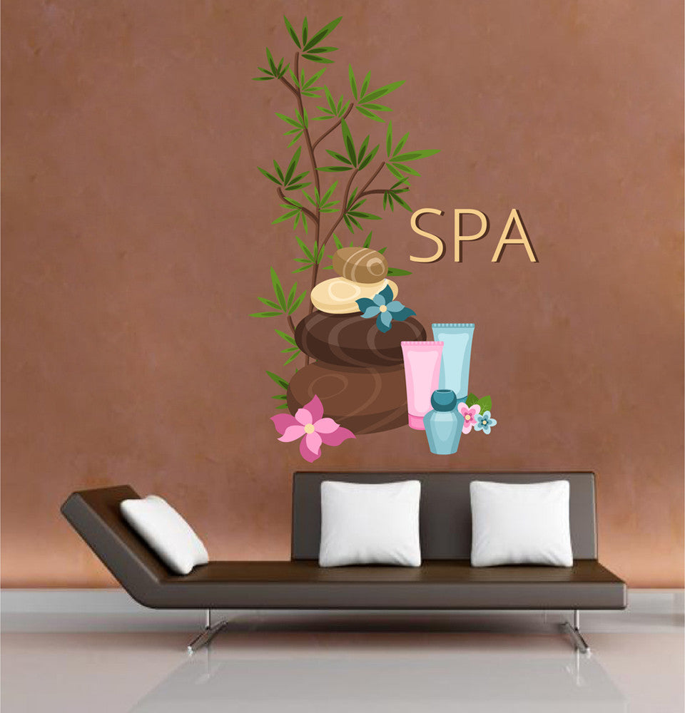 cik1347 Full Color Wall decal Cosmetics stones flowers spa beauty salon