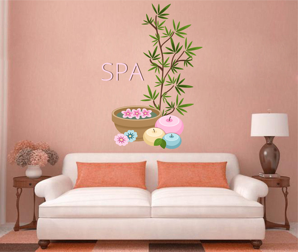 cik1350 Full Color Wall decal candles flowers stones cosmetics spa salon