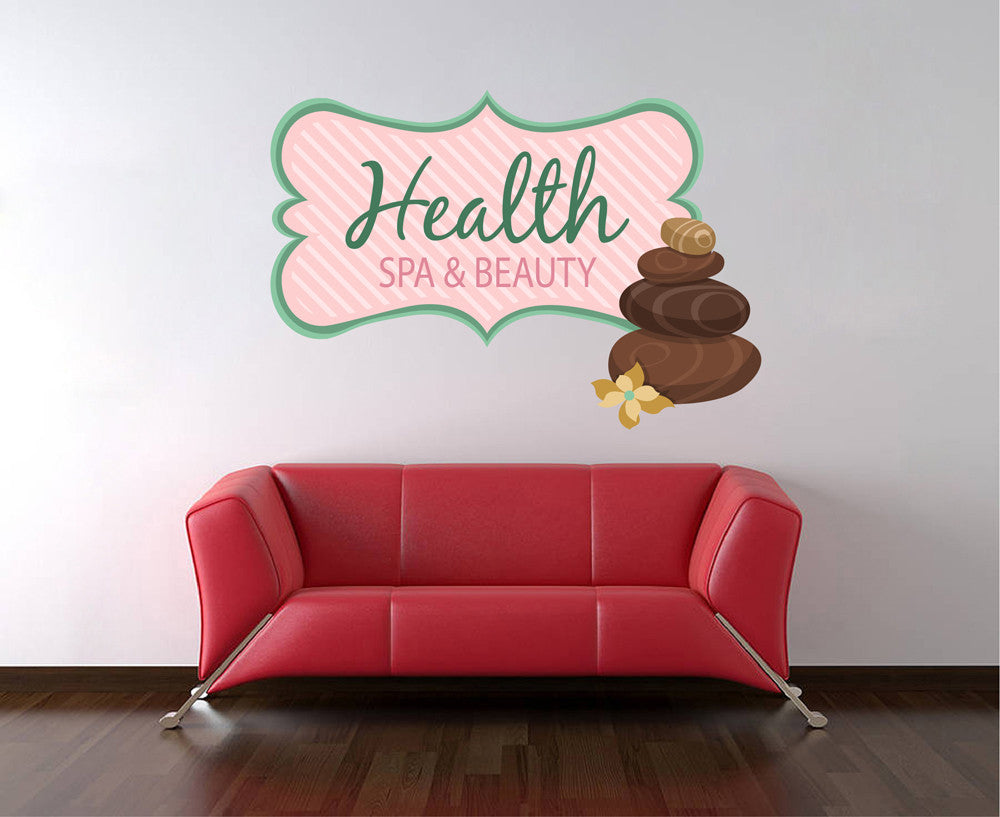 cik1355 Full Color Wall decal stones flowers health attributes towels beauty salon spa