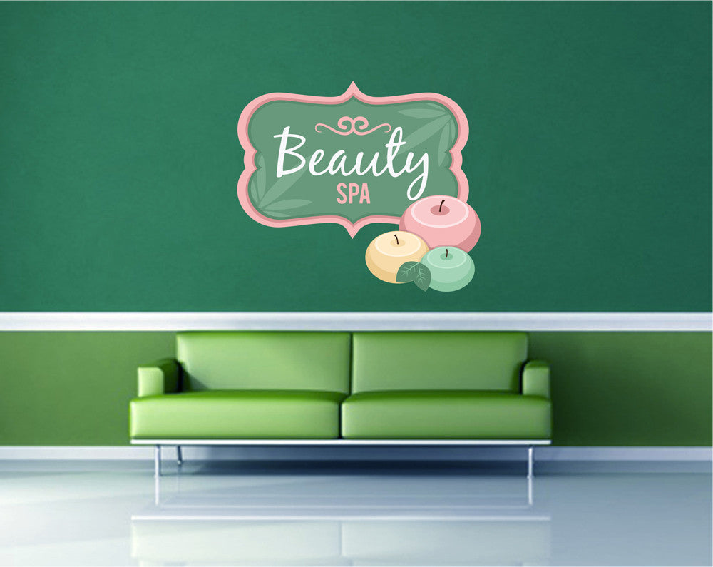 cik1356 Full Color Wall decal candles flowers paraphernalia towels beauty salon spa