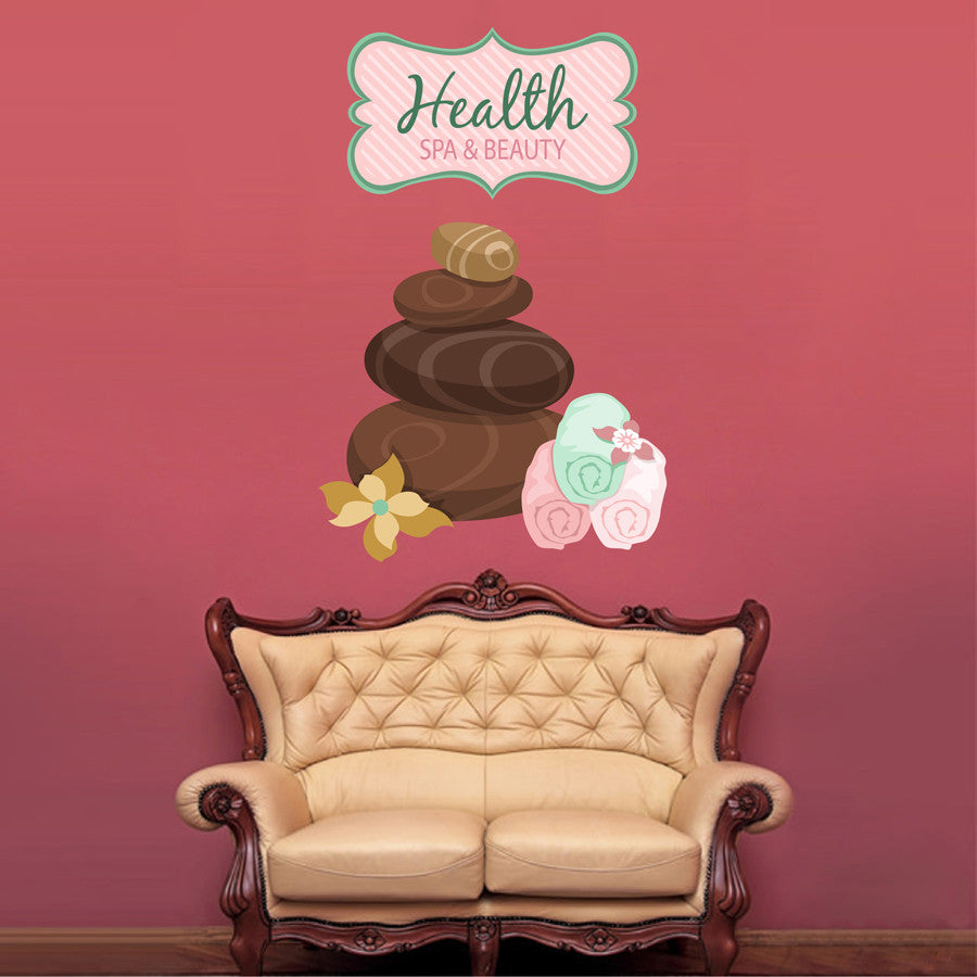 cik1360 Full Color Wall decal Health stones towels beauty salon spa