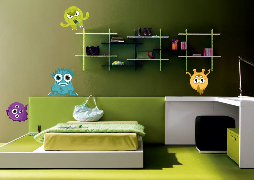 cik1365 Full Color Wall decal funny monsters bright children's bedroom