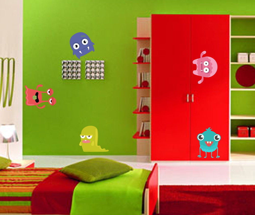 cik1367 Full Color Wall decal funny monsters bright children's bedroom