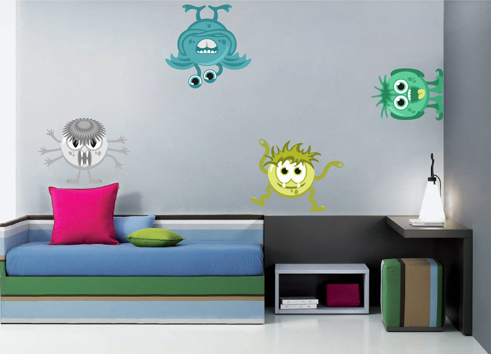 cik1369 Full Color Wall decal funny monsters bright children's bedroom