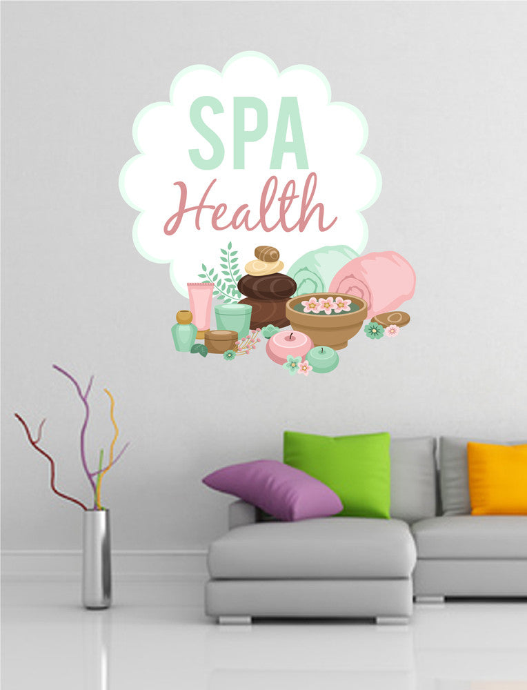 cik1373 Full Color Wall decal Health stones candle cosmetics beauty salon spa
