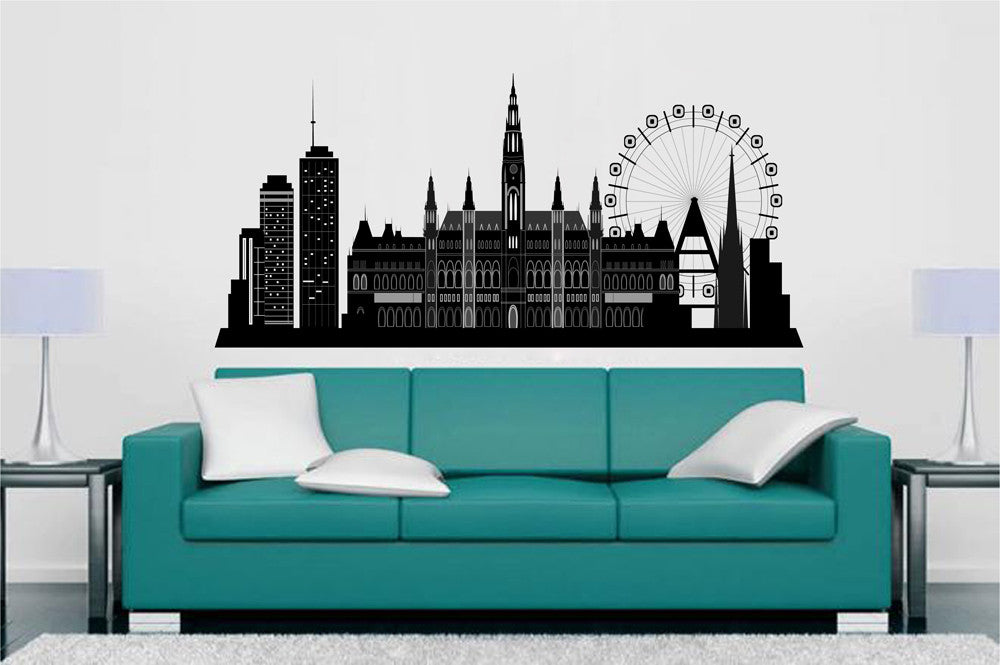 cik1376 Full Color Wall decal Vienna Austria city panorama living room bedroom