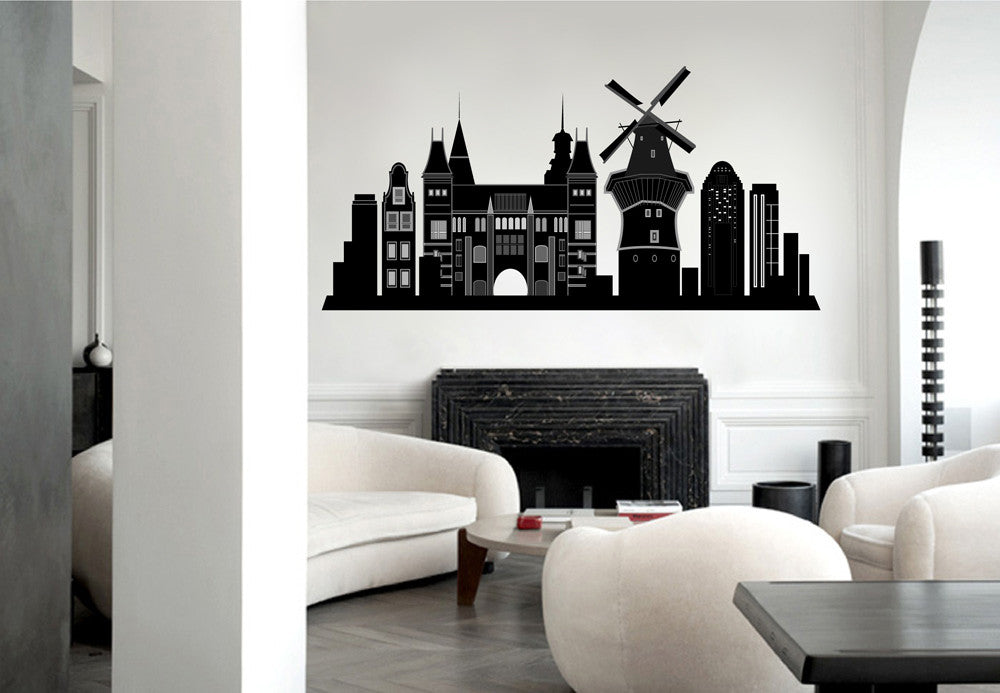 cik1378 Full Color Wall decal Amsterdam holland netherlands panorama living room bedroom