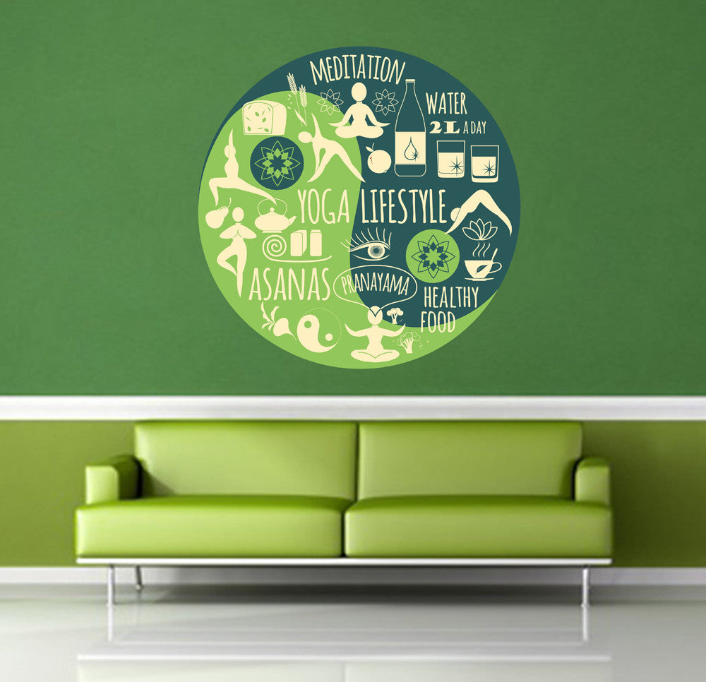 cik1389 Full Color Wall decal yin-yang posture healthy eating hall yoga meditation