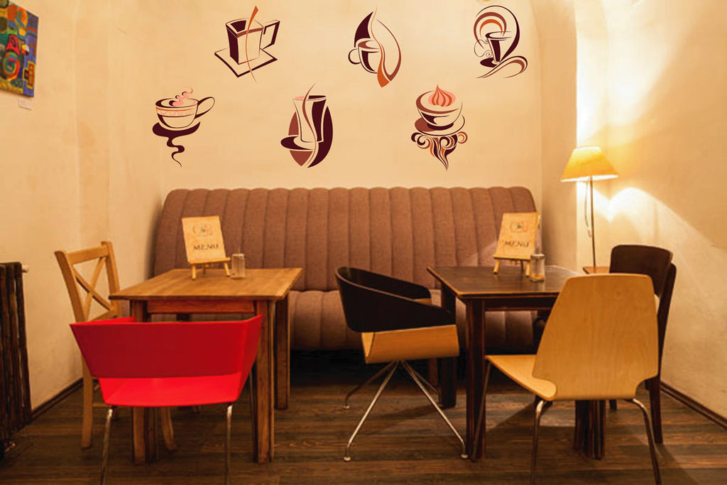 cik138 Full Color Wall decal coffee tea cup sweet restaurant cafe