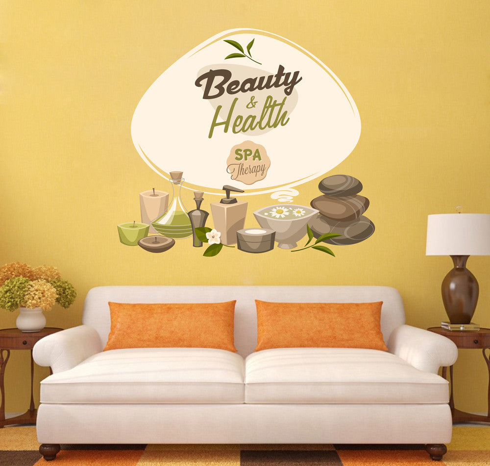 cik1394 Full Color Wall decal oil candles flowers stones wellness center spa beauty salon