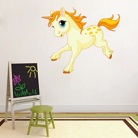 cik13 Full Color Wall decal Pink Unicorn Children's Tales animals children's room