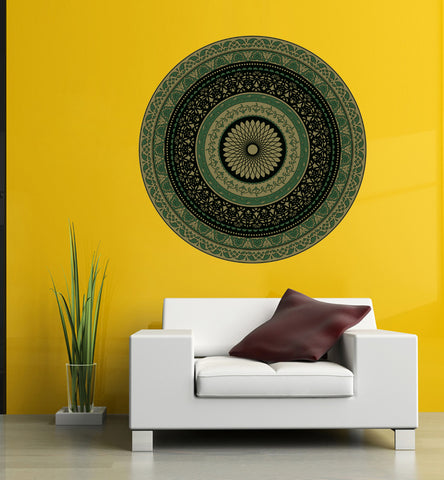 cik1405 Full Color Wall decal Mandala green living room bedroom yoga