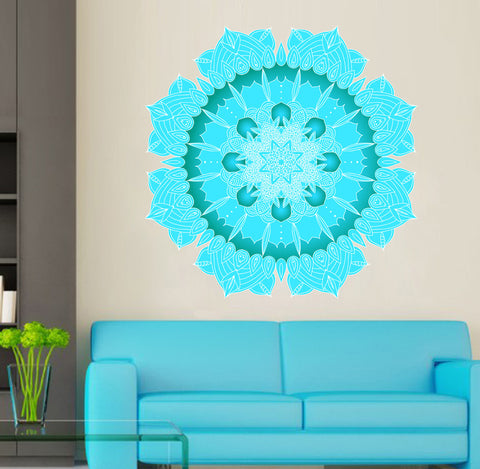 cik1406 Full Color Wall decal Turquoise Mandala Yoga room living room bedroom