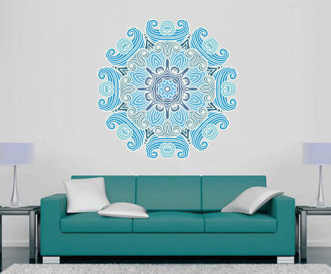 cik1409 Full Color Wall decal beautiful blue mandala yoga hall bedroom hall