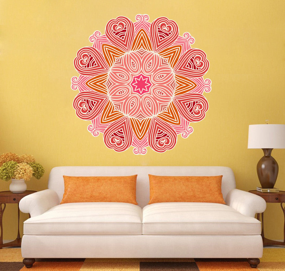 cik1411 Full Color Wall decal beautiful pink mandala yoga bedroom ...