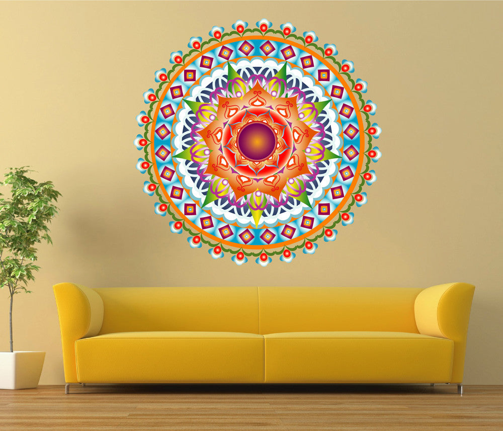cik1441 Full Color Wall decal beautiful bright mandala meditation ...
