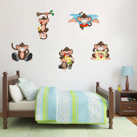 cik146 Full Color Wall decal monkey animals superhero Banana myach children's room