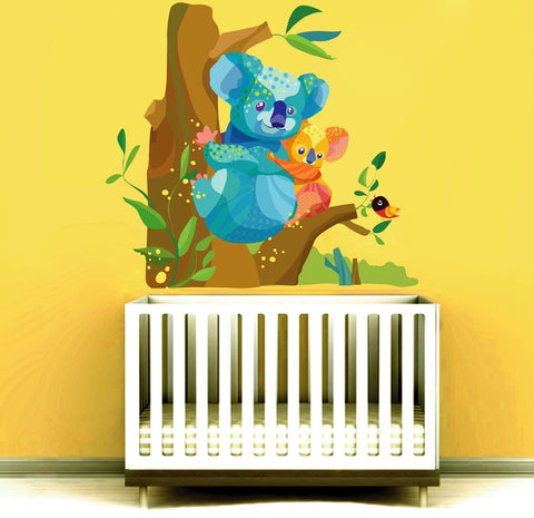 cik15 Full Color Wall decal baby koala mother tree animal baby bed children's room