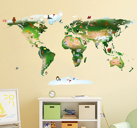 cik1630 Full Color Wall decal world map animal children's bedroom