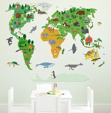 cik1631 Full Color Wall decal world map animal children's bedroom