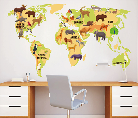 cik1632 Full Color Wall decal world map animal children's bedroom