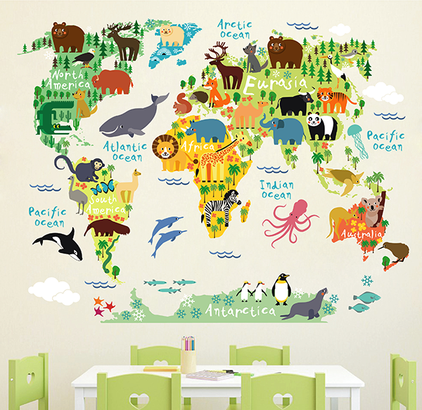 cik1633 Full Color Wall decal world map animal children's bedroom