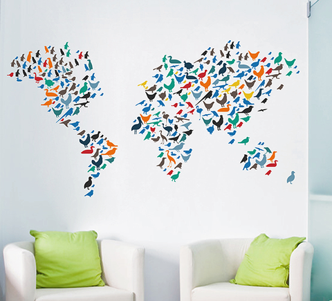 cik1635 Full Color Wall decal Birds world map children's bedroom