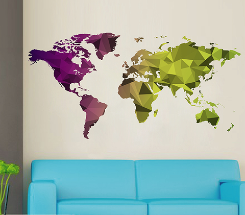 cik1636 Full Color Wall decal world map abstract living room bedroom