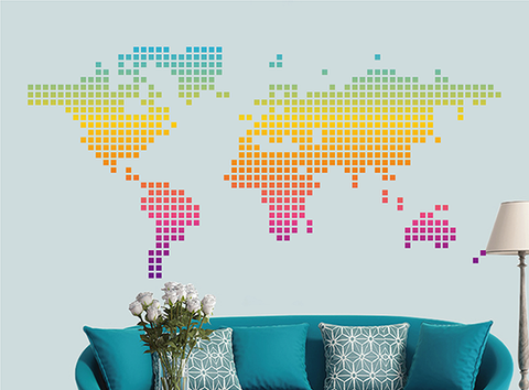 cik1637 Full Color Wall decal world map abstract living room bedroom