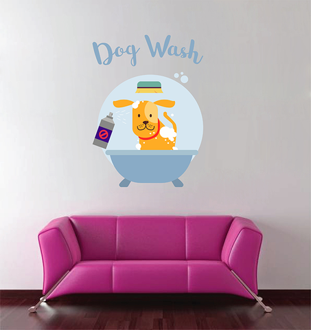 cik1701 Full Color Wall decal dog grooming salon dig wash care Dog hair salon clean pet hairdresser