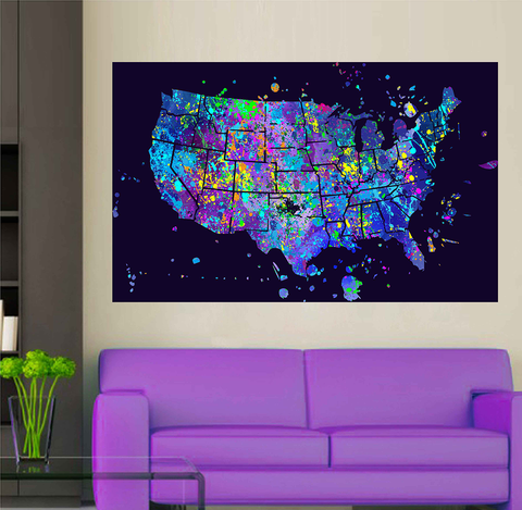 cik1725 Full Color Wall decal poster space Watercolor paint splashes United states map Living room