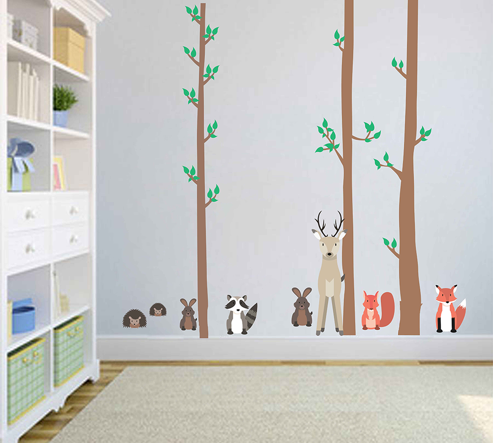 cik1765 Full Color Wall decal bedroom children's Custom Baby Nursery tree nusery decal tree Forest animals