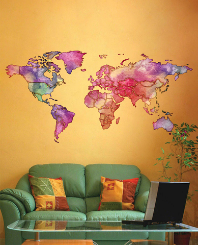 cik1805 Full Color Wall decal Watercolor World map Living room bedroom