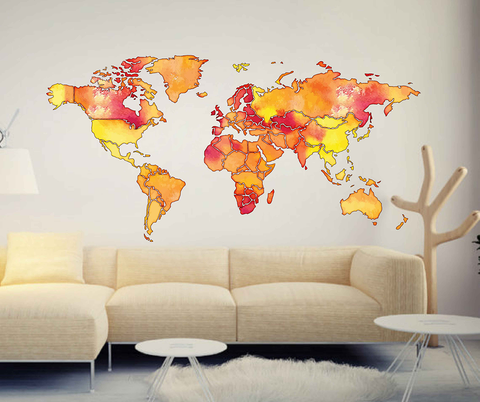 cik1815 Full Color Wall decal Watercolor World map Living room bedroom cabinet