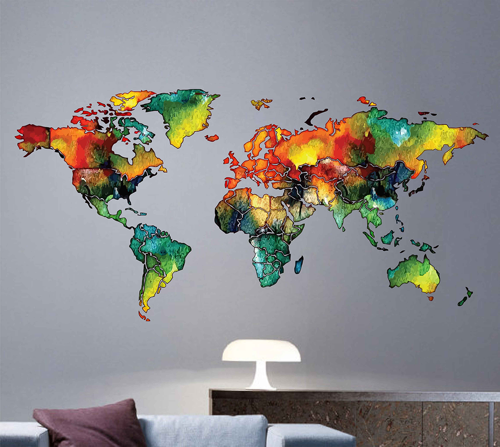 World Map Wall Sticker Water Colour Wall Decal Art Living Room Home Decor