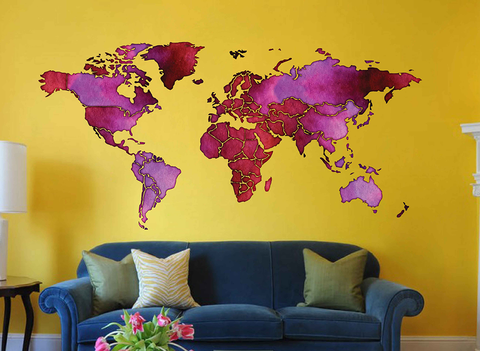 cik1818 Full Color Wall decal Watercolor World map Living room bedroom cabinet